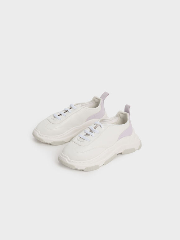 Girls' Two-Tone Chunky Sneakers, White, hi-res