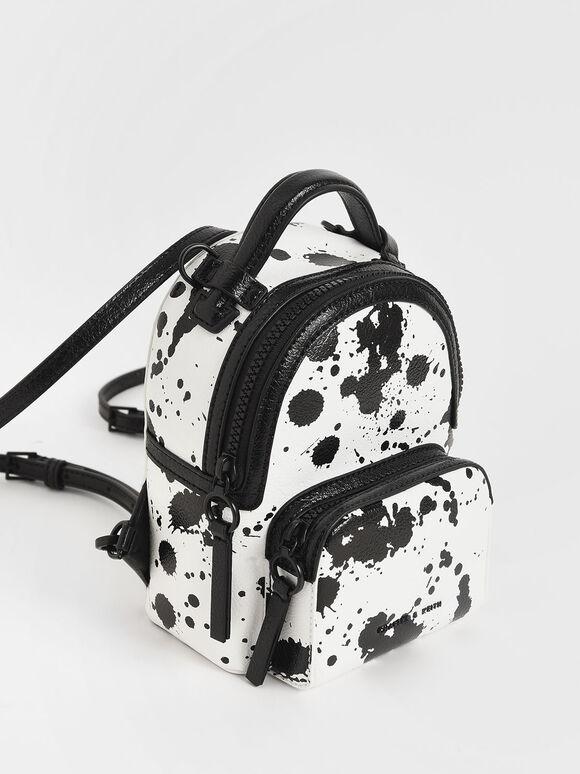 Printed Mini Double Zip Backpack, White, hi-res