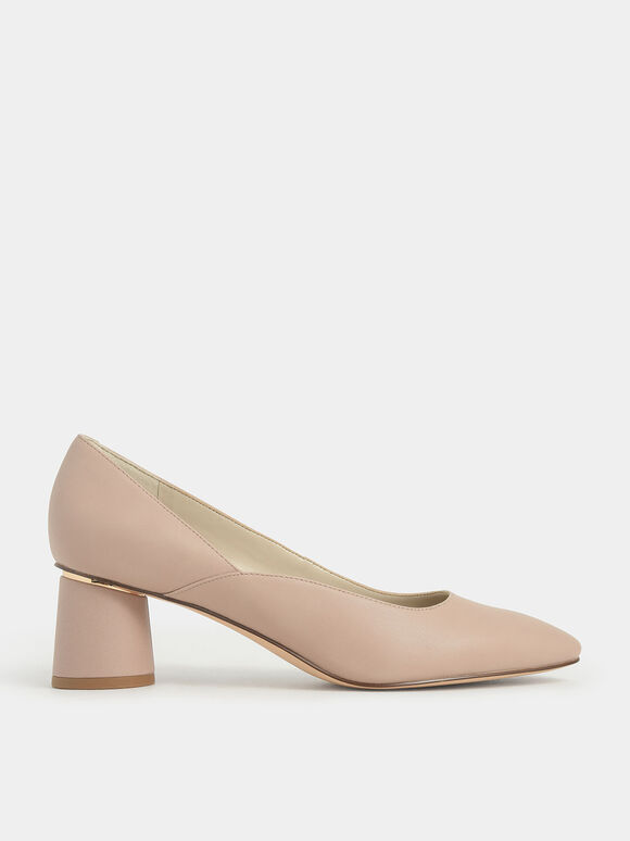 Cylindrical Heel Pumps, Nude, hi-res