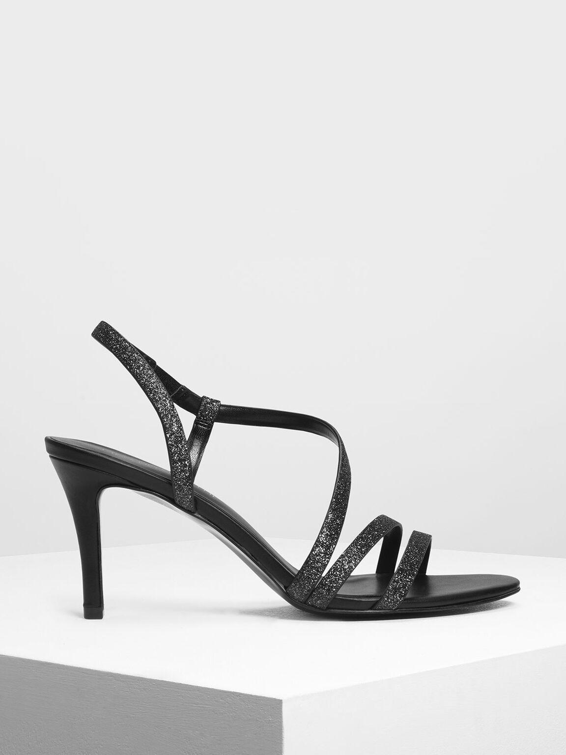 Glittery Heeled Sandals, Black, hi-res