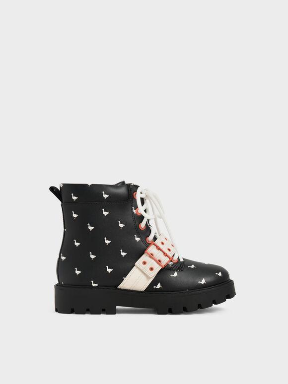 兒童鉚釘帶天鵝厚底短靴, 黑色特別款, hi-res
