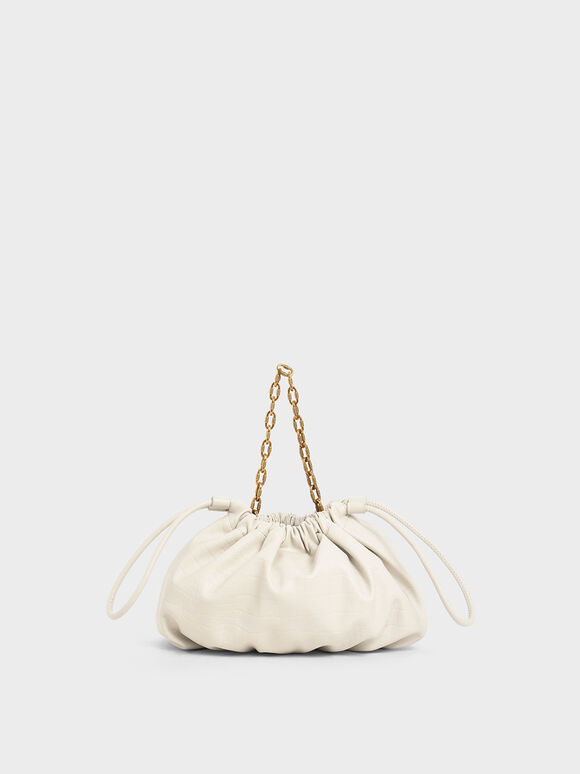 Croc-Effect Chain Handle Drawstring Clutch, Cream, hi-res
