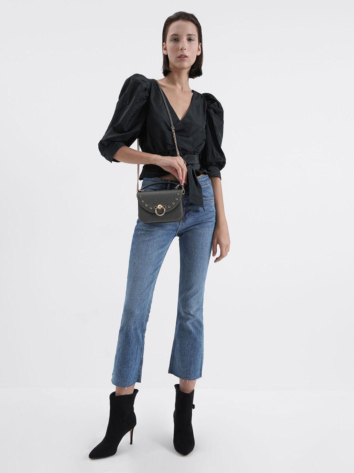 鉚釘拉環手提包, 金灰色, hi-res