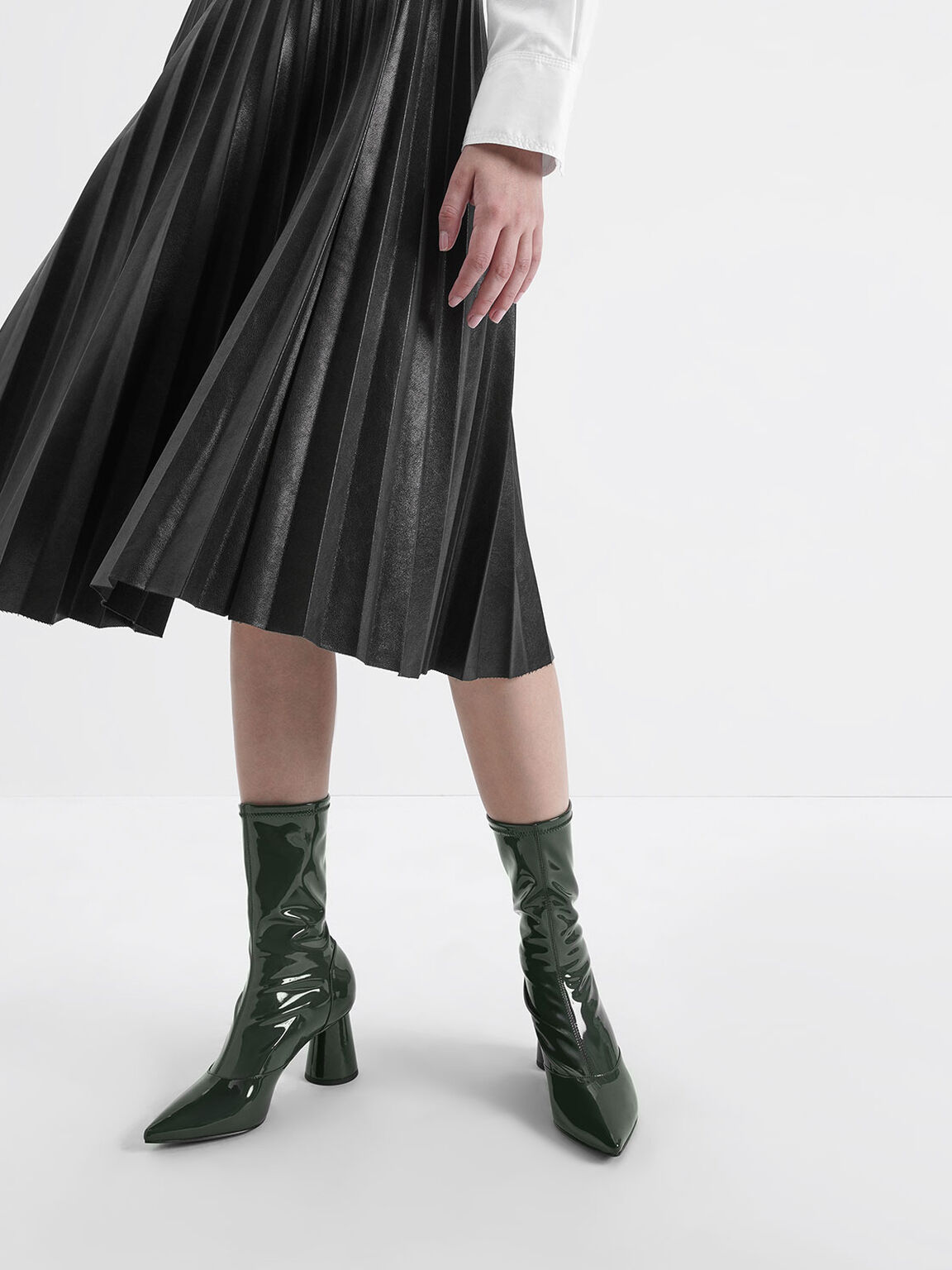 Patent Cylindrical Heel Calf Boots, Green, hi-res