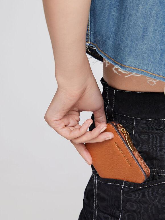 Zip Around Card Holder, Cognac, hi-res