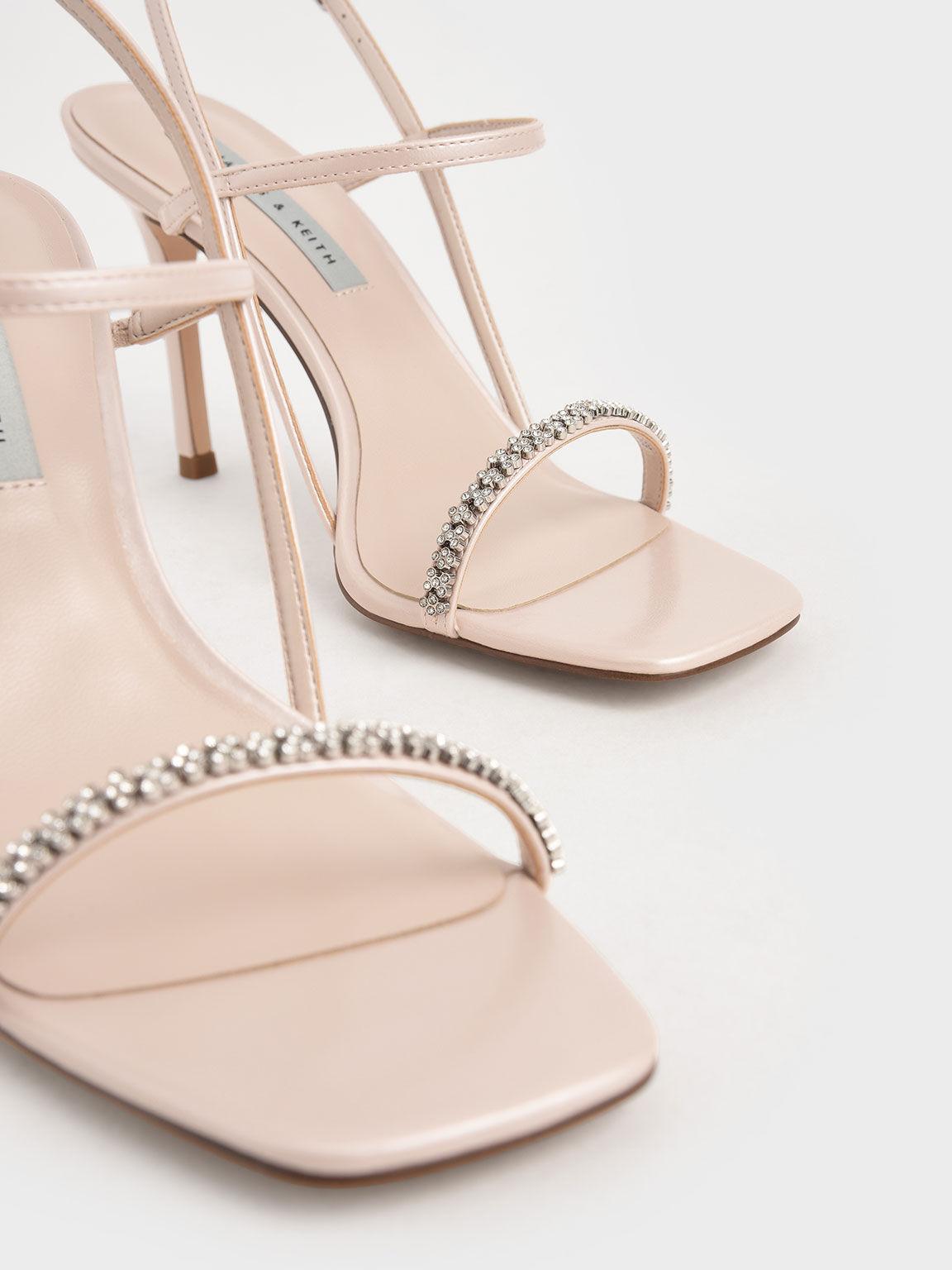 Gem-Embellished Strappy Sandals, Nude, hi-res