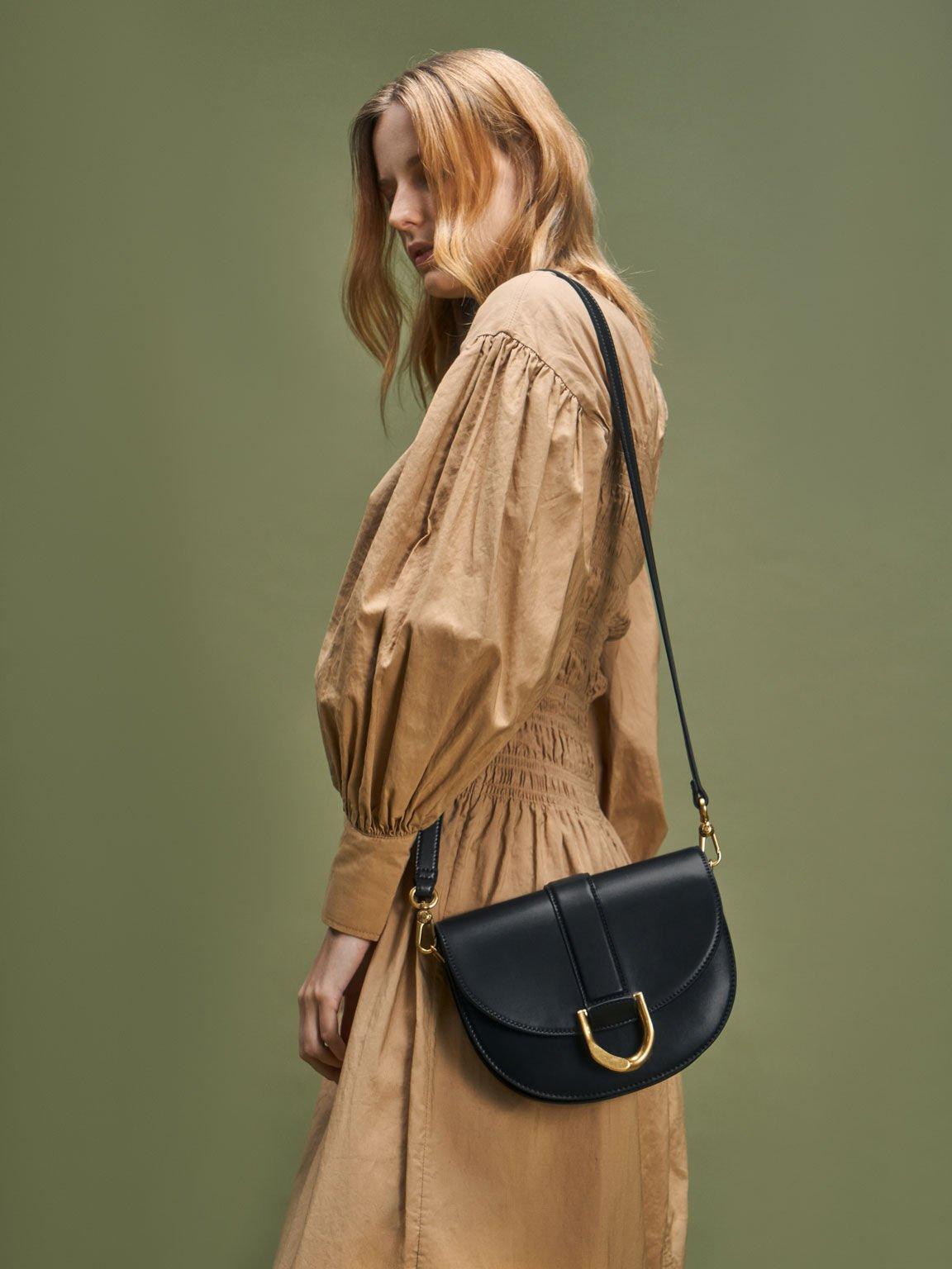 Gabine Saddle Bag, Black, hi-res