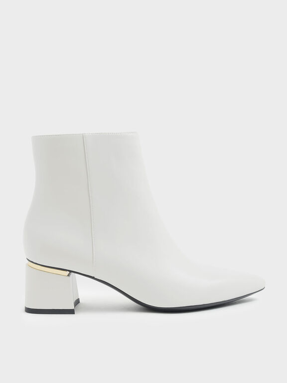Metal Accent Block Heel Ankle Boots, Chalk