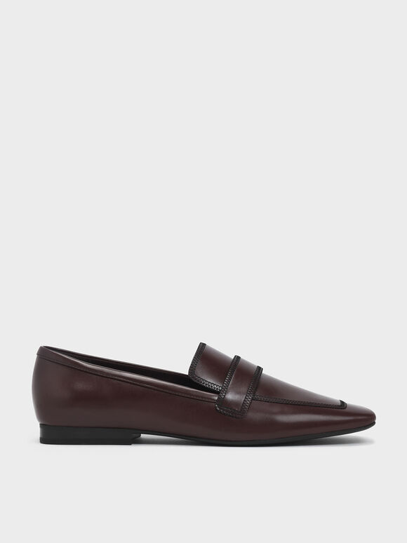Overlock Stitch Loafers, Brown, hi-res