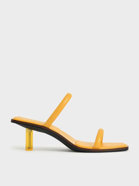 莫莉聯名:細帶透明跟涼鞋, 黃色, hi-res