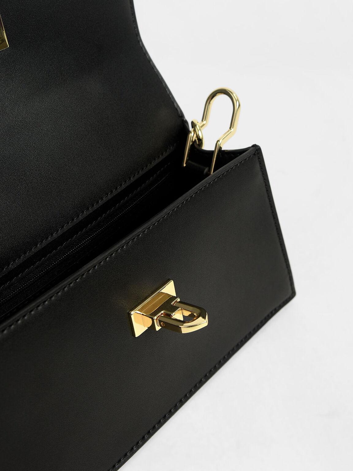 Top Handle Trapeze Bag, Black, hi-res
