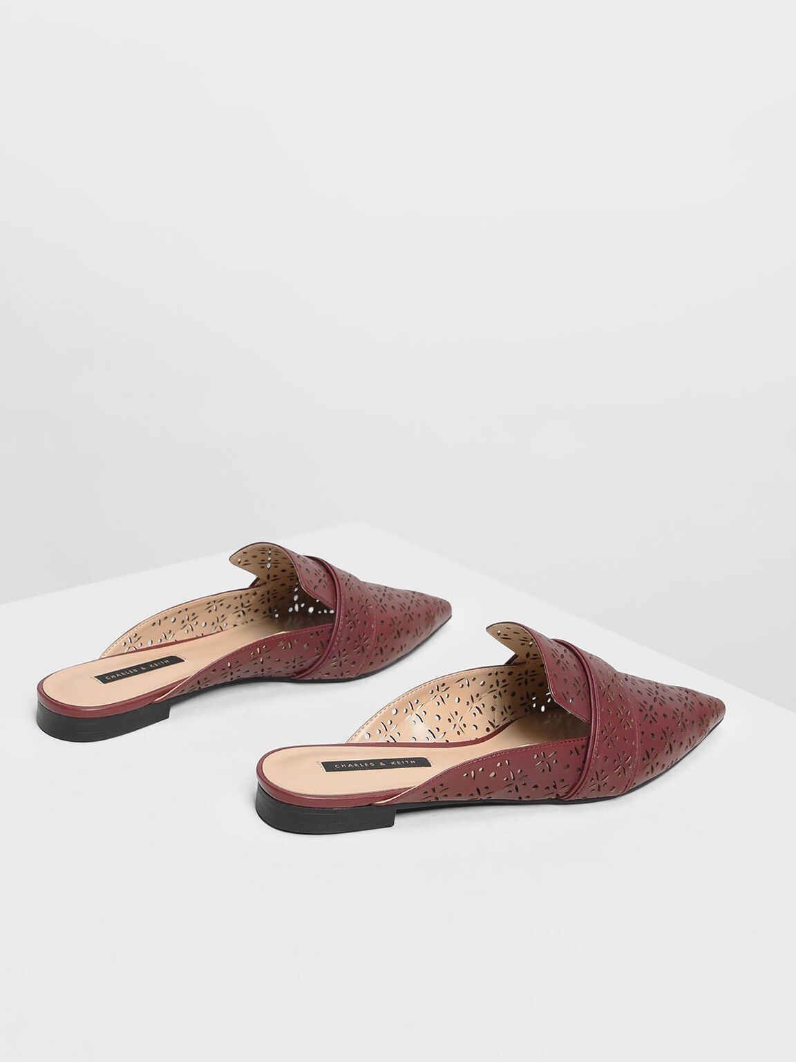 Motif Pointed Toe Mules, Burgundy, hi-res