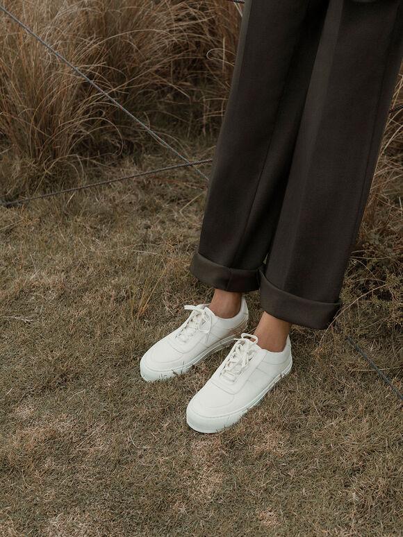 綁帶厚底休閒鞋, 白色, hi-res