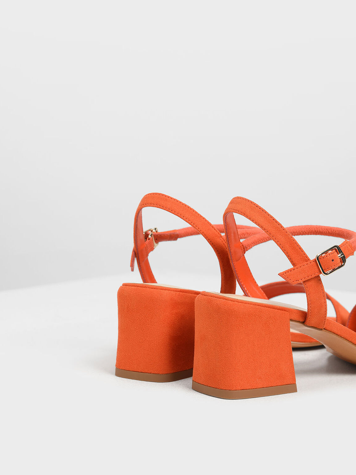 Open Toe Block Heel Sandals, Red, hi-res