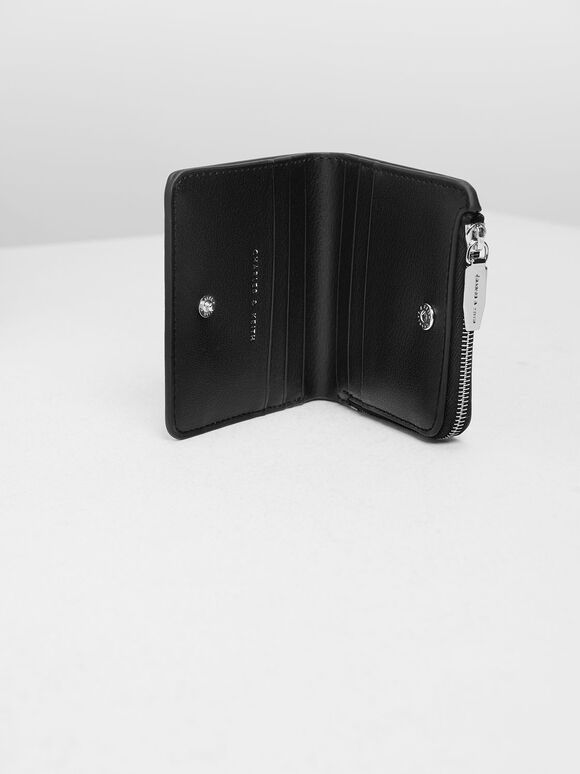 Classic Snap Button Card Holder, Black, hi-res