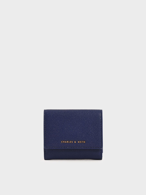Mini Snap-Button Small Wallet, Dark Blue, hi-res