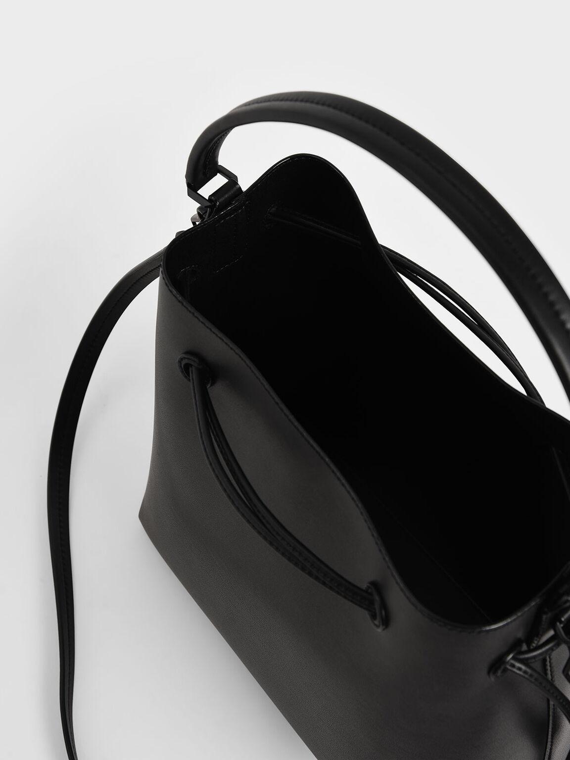 Drawstring Hobo Bag, Black, hi-res