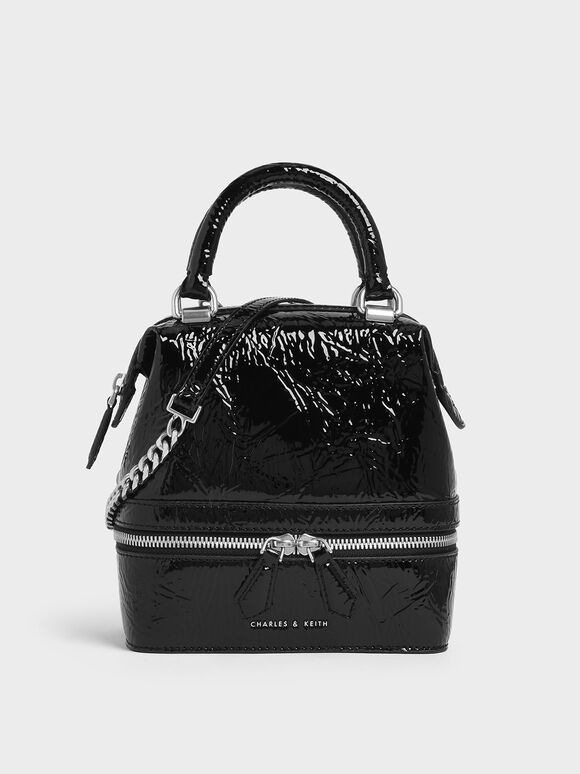 Wrinkled Patent Two-Way Zip Boxy Bag, Black, hi-res