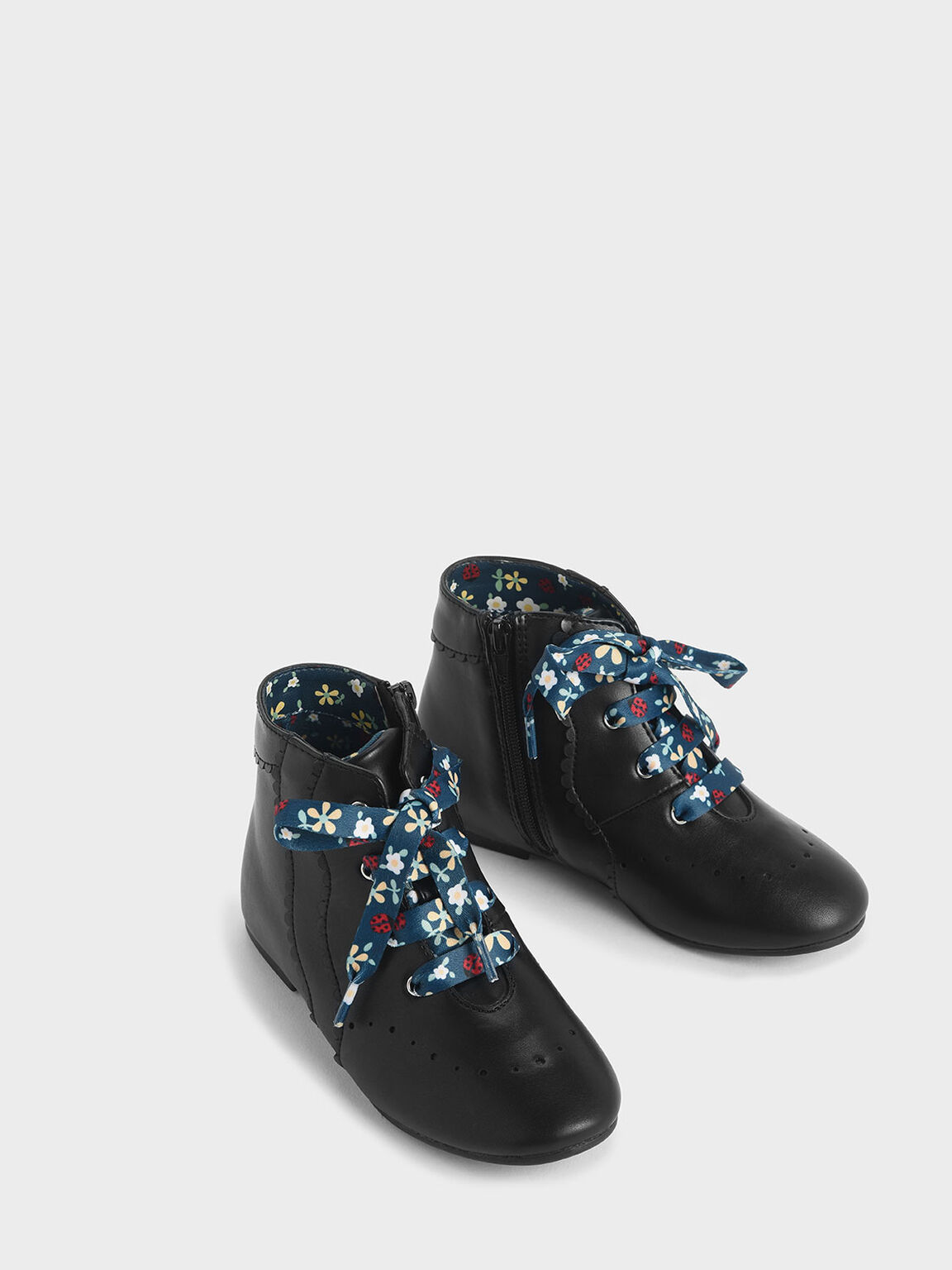 Girls' Floral Print Lace-Up Ankle Boots, Black, hi-res