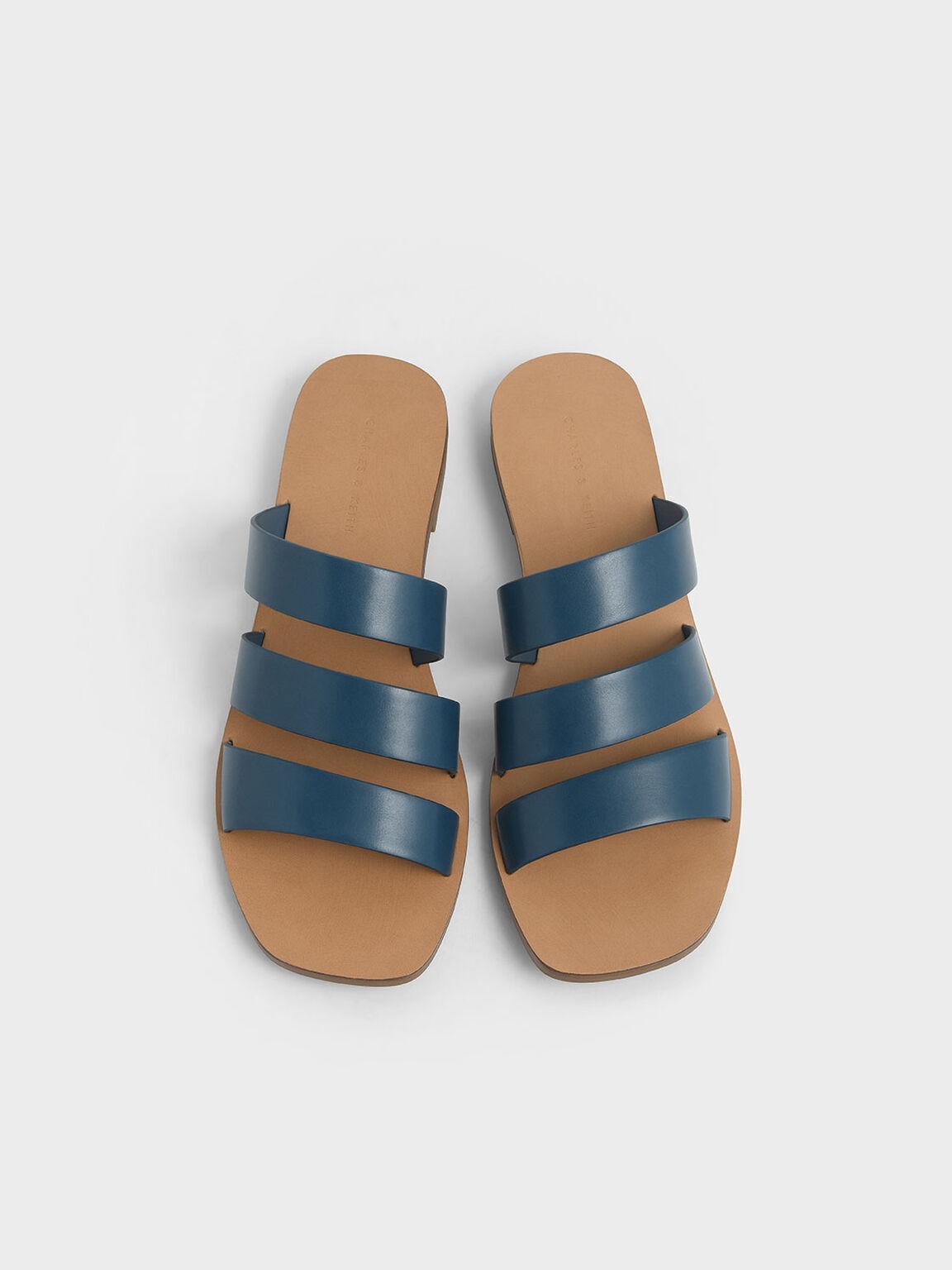 多帶平底拖鞋, 藍色, hi-res