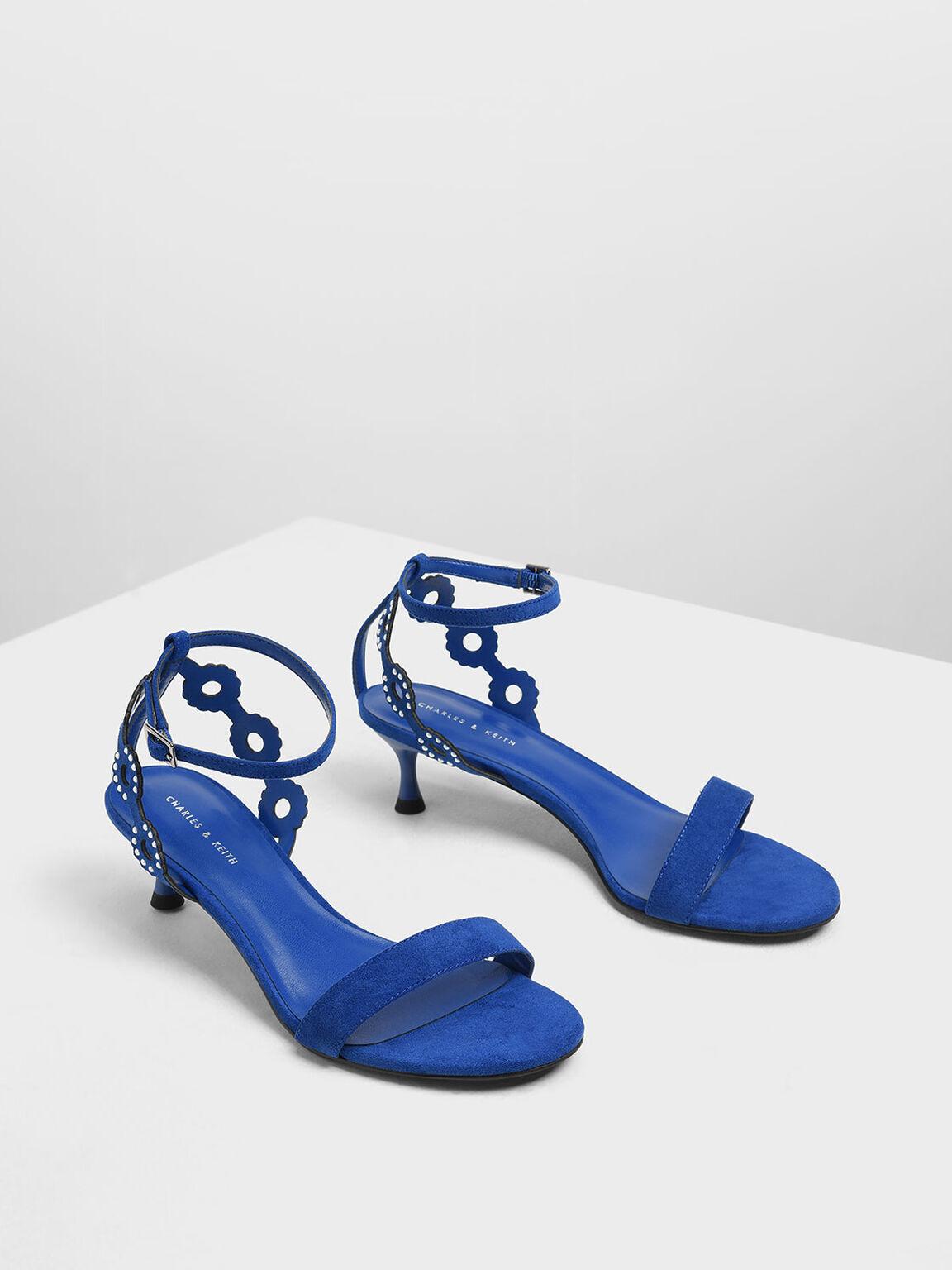 Cut-Out Embellished Kitten Heels, Blue, hi-res