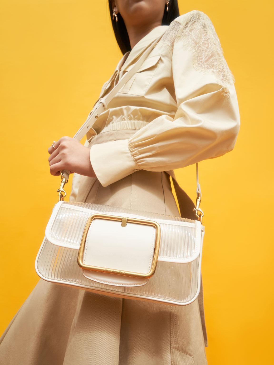 Acrylic Chain Handle Shoulder Bag, White, hi-res