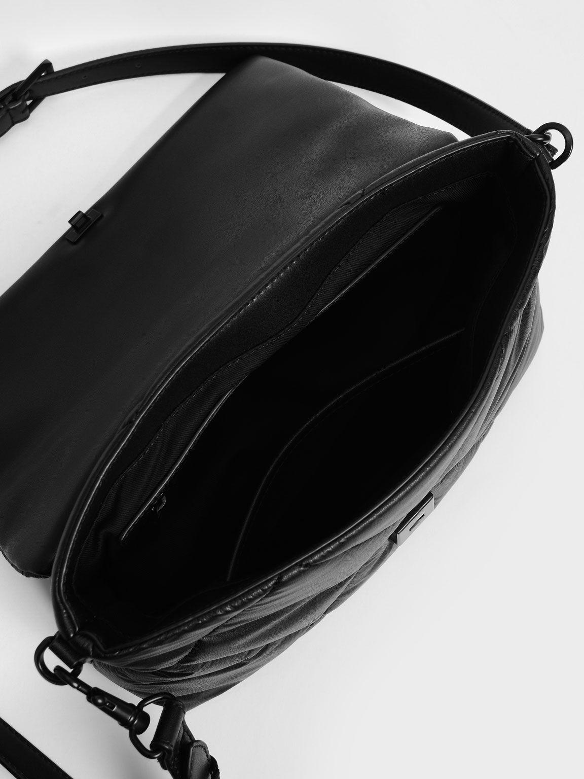 Puffer Chain Shoulder Bag, Matte Black, hi-res