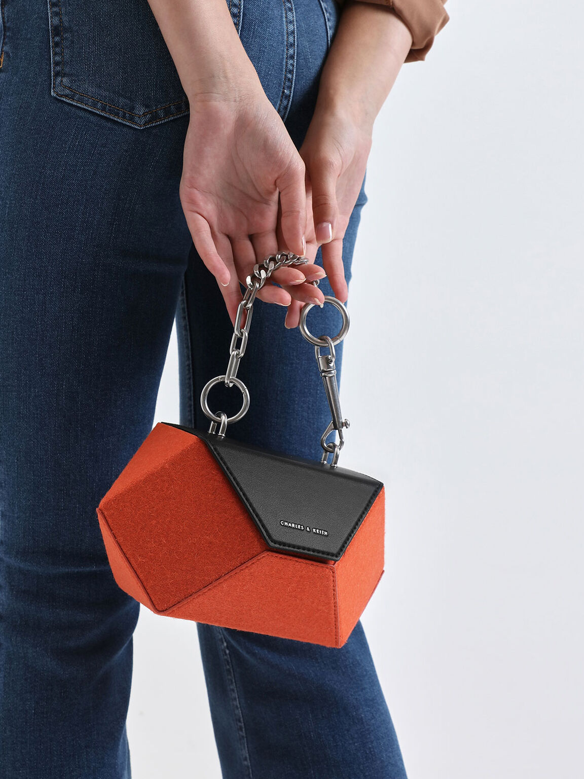 Two-Tone Demi Chain Handle Hexagon Bag, Orange, hi-res