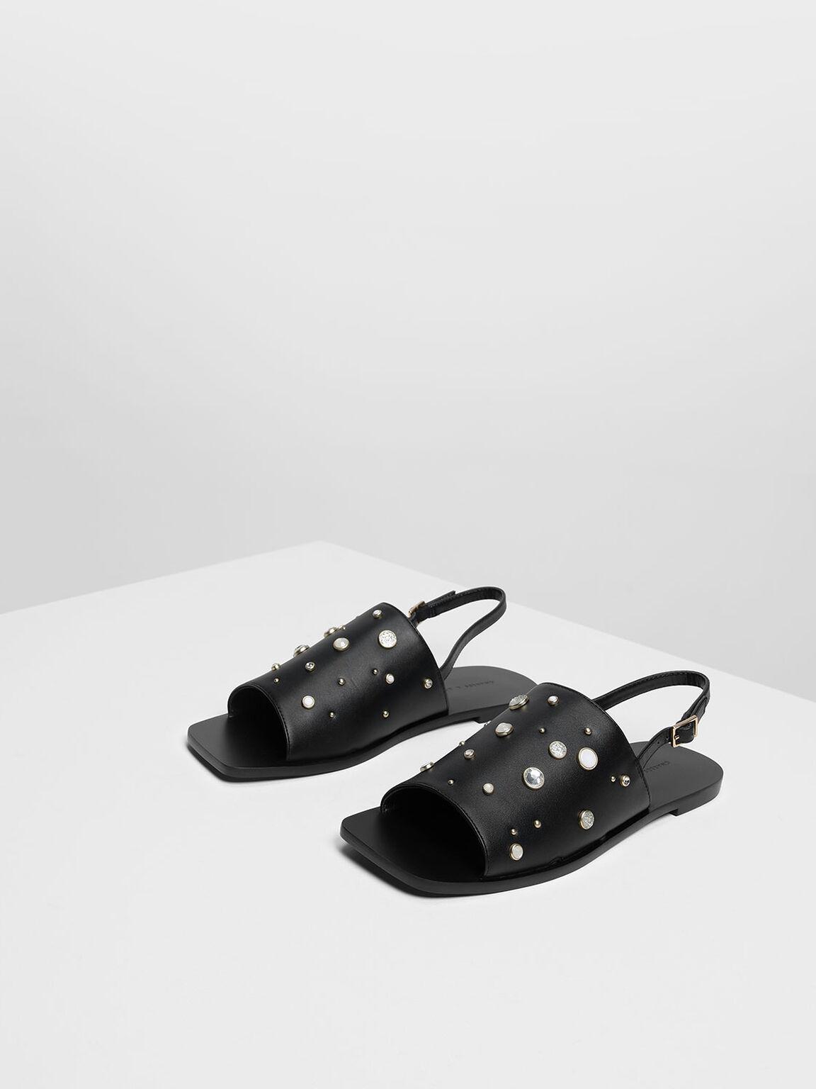 Embellished Square Toe Slingback Sandals, Black, hi-res