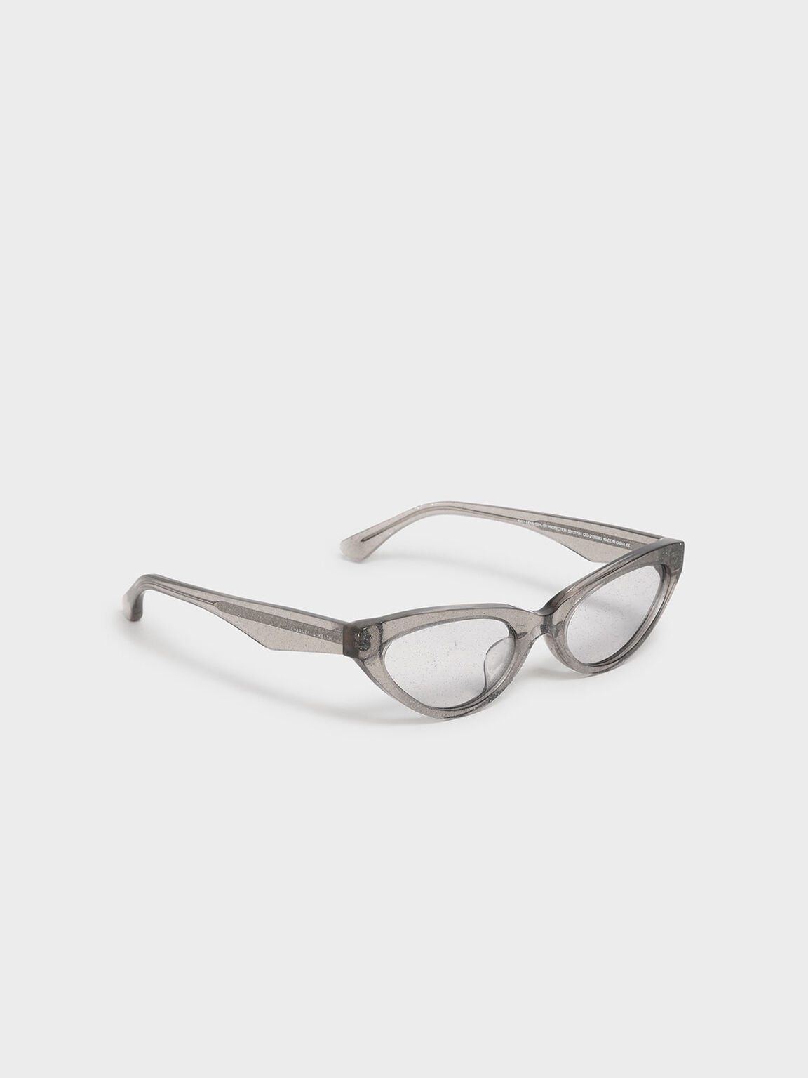 Acetate Oval Frame Sunglasses, Grey, hi-res