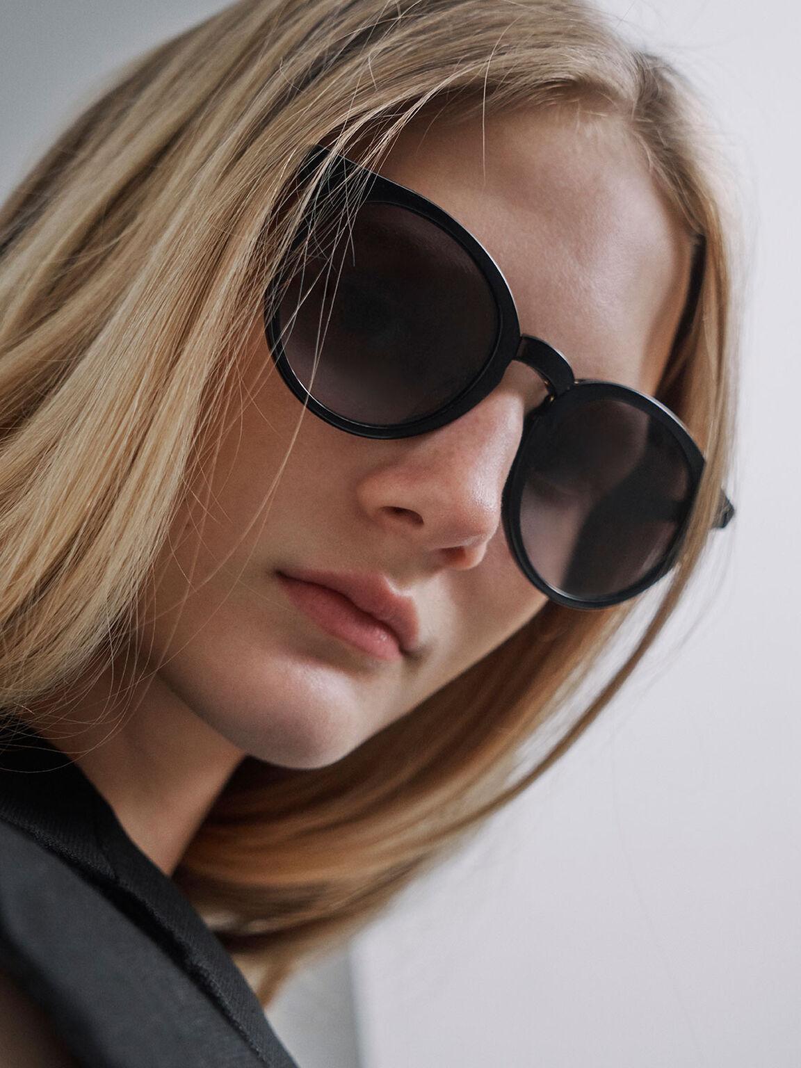 Round Acetate Sunglasses, Black, hi-res