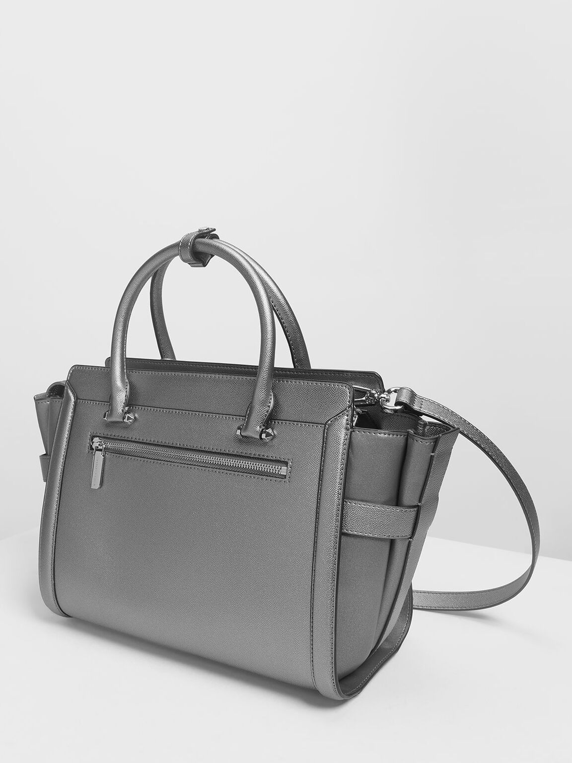 Classic Structured City Bag, Pewter, hi-res