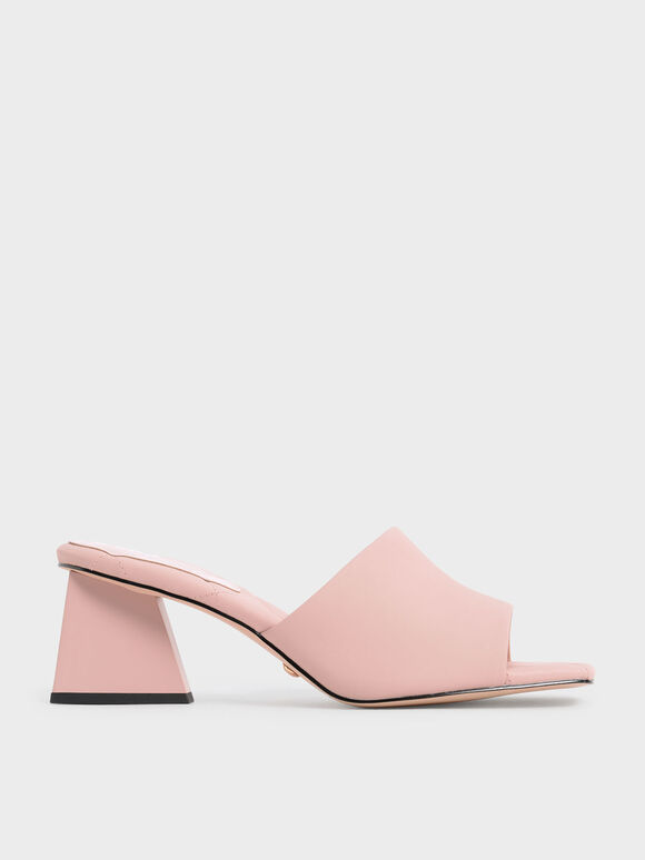 Leather Trapeze Heel Mules, Pink, hi-res