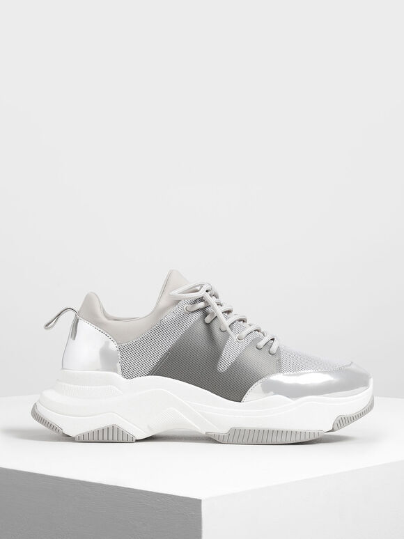 Chunky Mesh Sneakers, Silver, hi-res