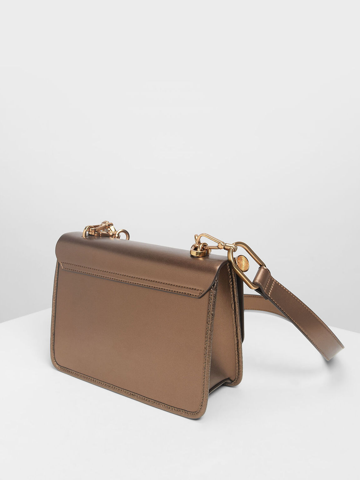 Scallop Edge Front Flap Bag, Bronze, hi-res