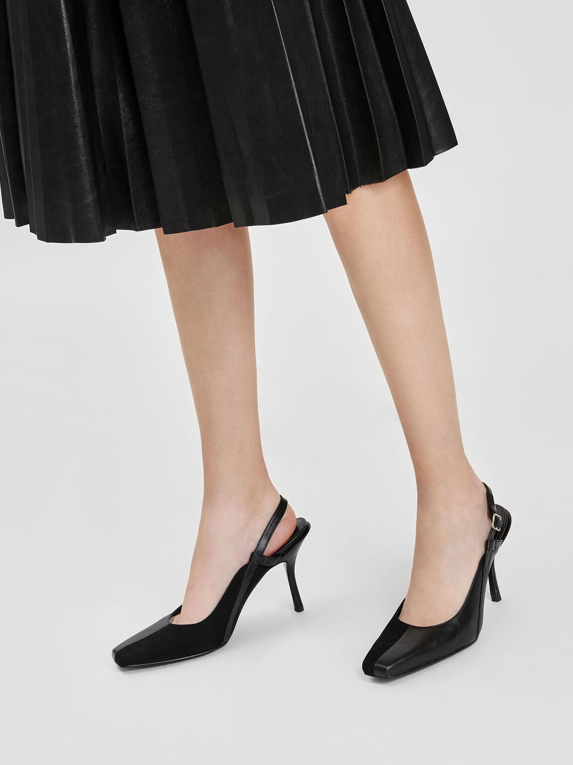 Square Toe Slingbacks, Black, hi-res