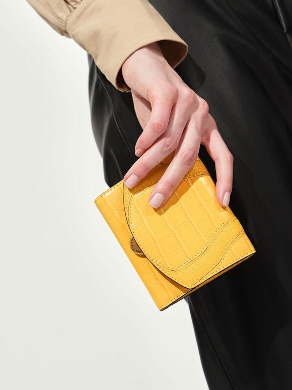 Push-Lock Mini Wallet, Yellow, hi-res