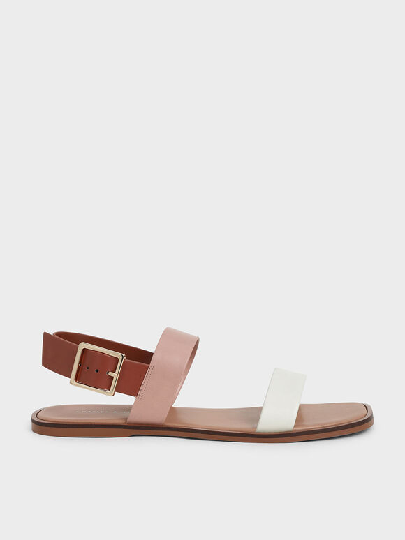 Buckle Ankle Strap Flat Sandals, Multi, hi-res