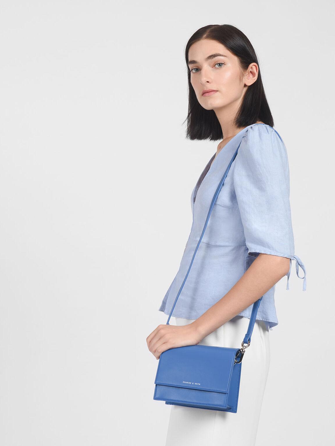 Front Flap Chain Detail Bag, Blue, hi-res