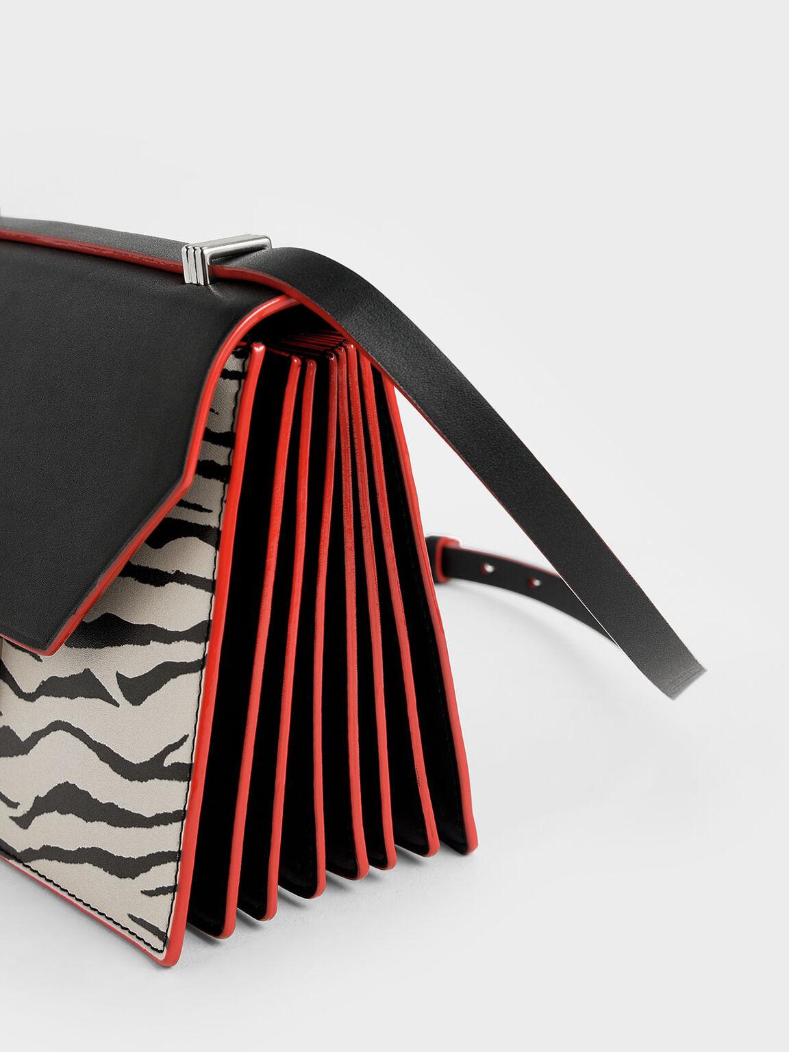 Velvet White Tiger Print Metal Accent Crossbody Bag, Multi, hi-res