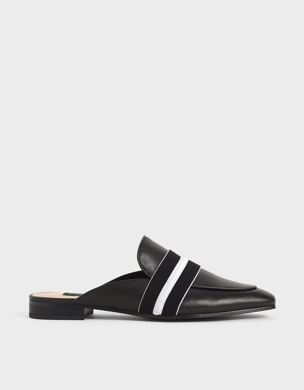 Black Two-Tone Leather Loafer Mules