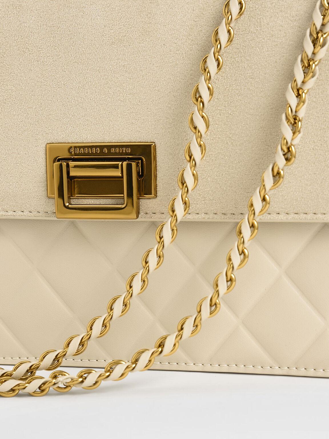 Quilted Shoulder Bag, Ivory, hi-res