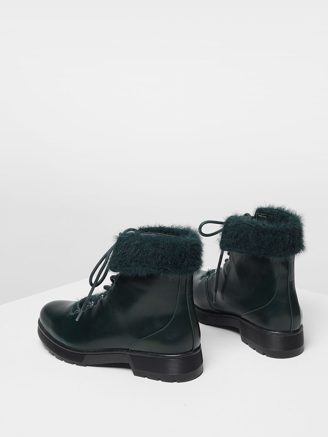 Furry Cuff Detail Combat Boots, Dark Green, hi-res