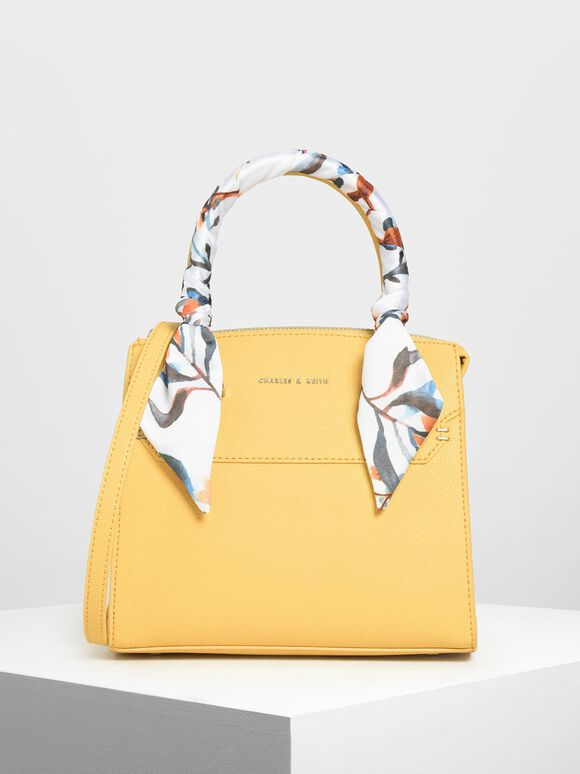 Scarf Wrapped Top Handle Bag, Yellow, hi-res