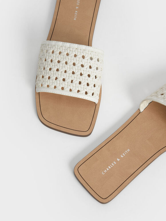 編織方頭拖鞋, 白色, hi-res