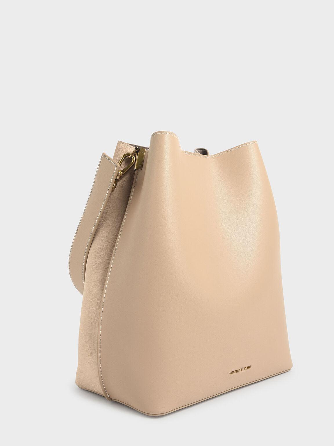 Studded Textured Hobo Bag, Beige, hi-res