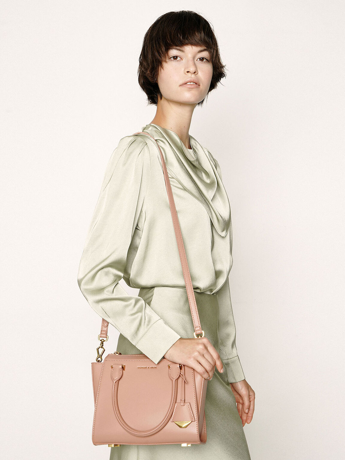 Structured Trapeze Bag, Blush, hi-res