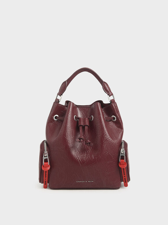 Wrinkled Effect Drawstring Bucket Bag, Burgundy, hi-res