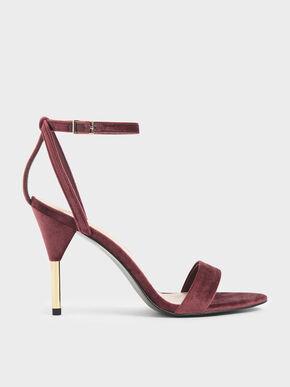 Velvet Stiletto Heels, Red