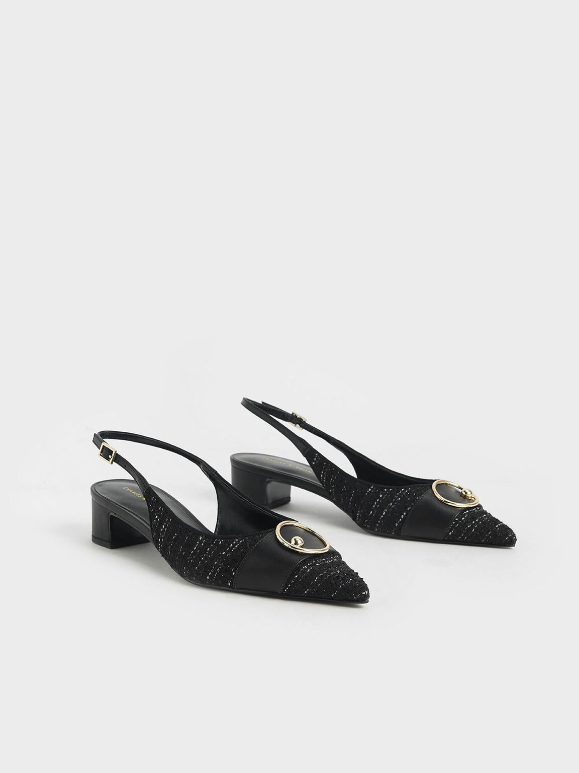 Ring Embellished Tweed Slingback Court Shoes, Black Textured, hi-res